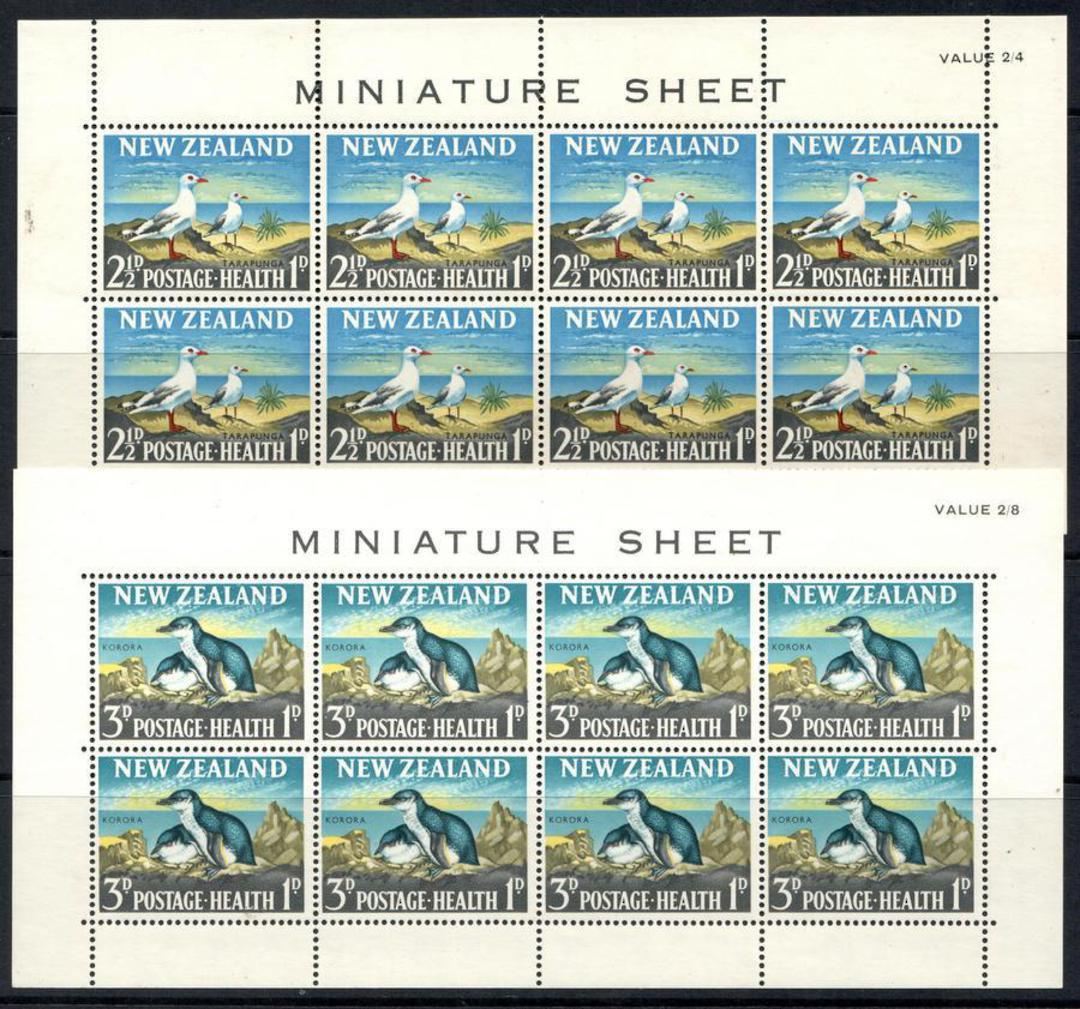 NEW ZEALAND 1964 Health miniature sheets featuring birds: Tarapunga and Korora. - 12664 - UHM image 0