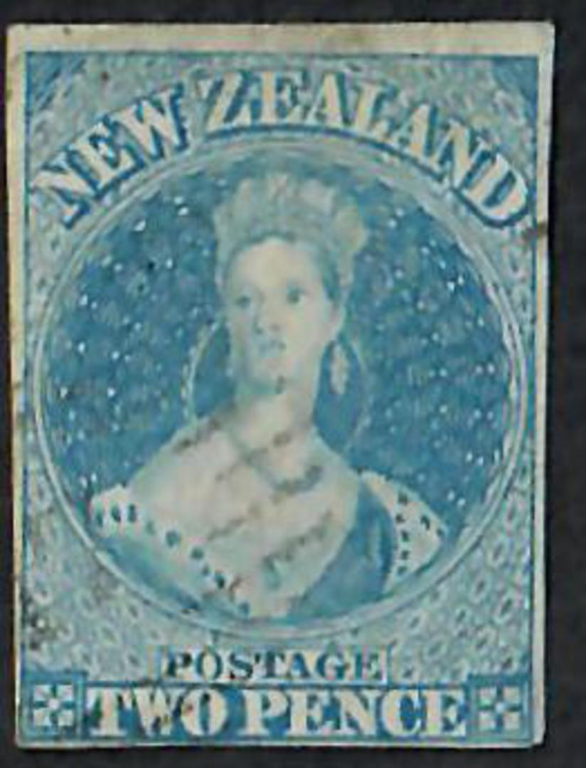 NEW ZEALAND 1855 Full Face Queen 2d Blue Imperf. No Watermark.4 margins. - 60009 - VFU image 0