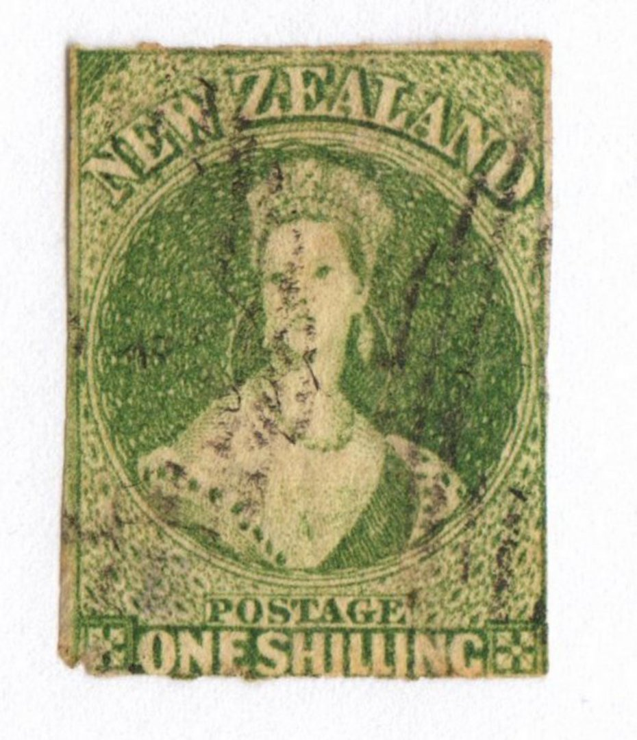 NEW ZEALAND 1855 Full Face Queen 1/- Yellow-Green. Roulette 7 at Auckland. Roulettes visible top and bottom only. One rounded co image 0