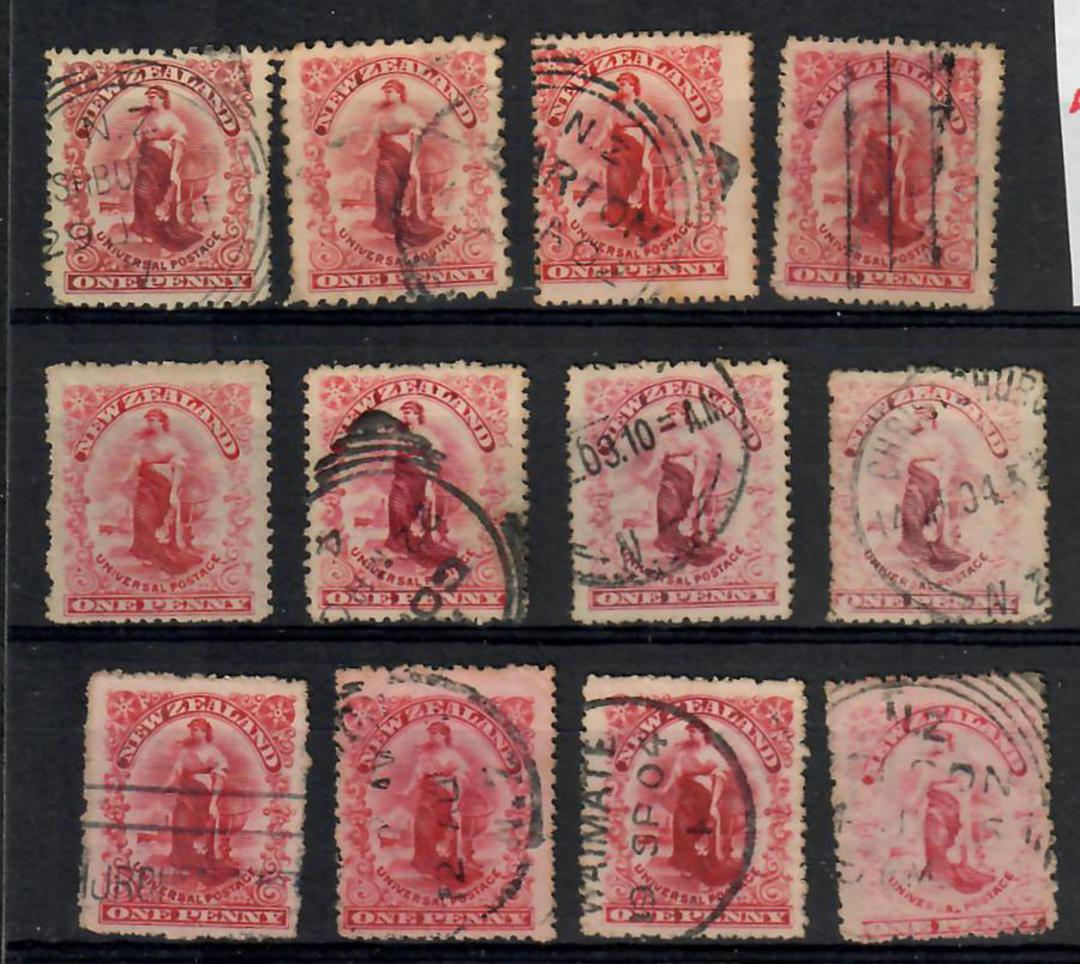 NEW ZEALAND 1901 1d Universal. Card with 12 stamps,only 1 duplication. All identified. - 21826 - Used image 0