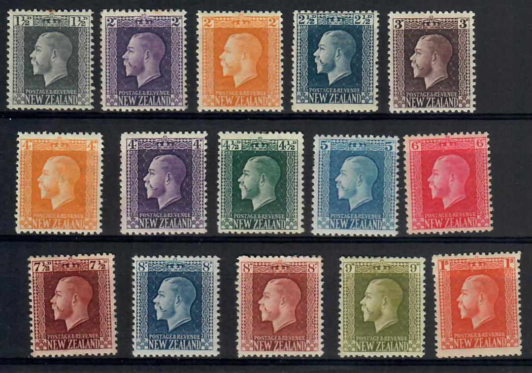 NEW ZEALAND 1915 Geo 5th Definitives. Set of 15. Recess. - 24851 - LHM image 0