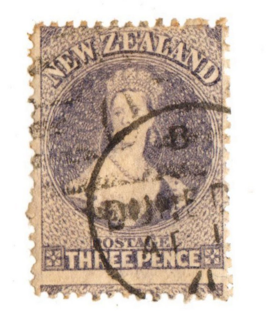 NEW ZEALAND 1862 Full Face Queen 3d Lilac. Perforated. Dunedin A class cancel. Cancel crosses the face. Nice copy. - 74013 - Use image 0