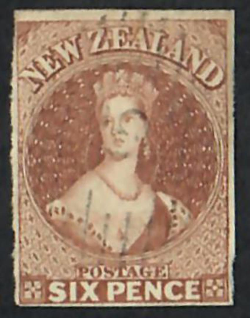 NEW ZEALAND 1855 Full Face Queen 6d Brown Imperf. 4 margins. No Watermark. Light postmark. - 60069 - VFU image 0