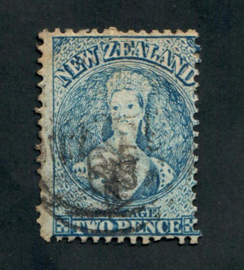 NEW ZEALAND 1862 Full Face Queen 2d Blue. Perf 13 Watermark Large Star. Advanced plate wear. Postmark just touching the face. Li image 0