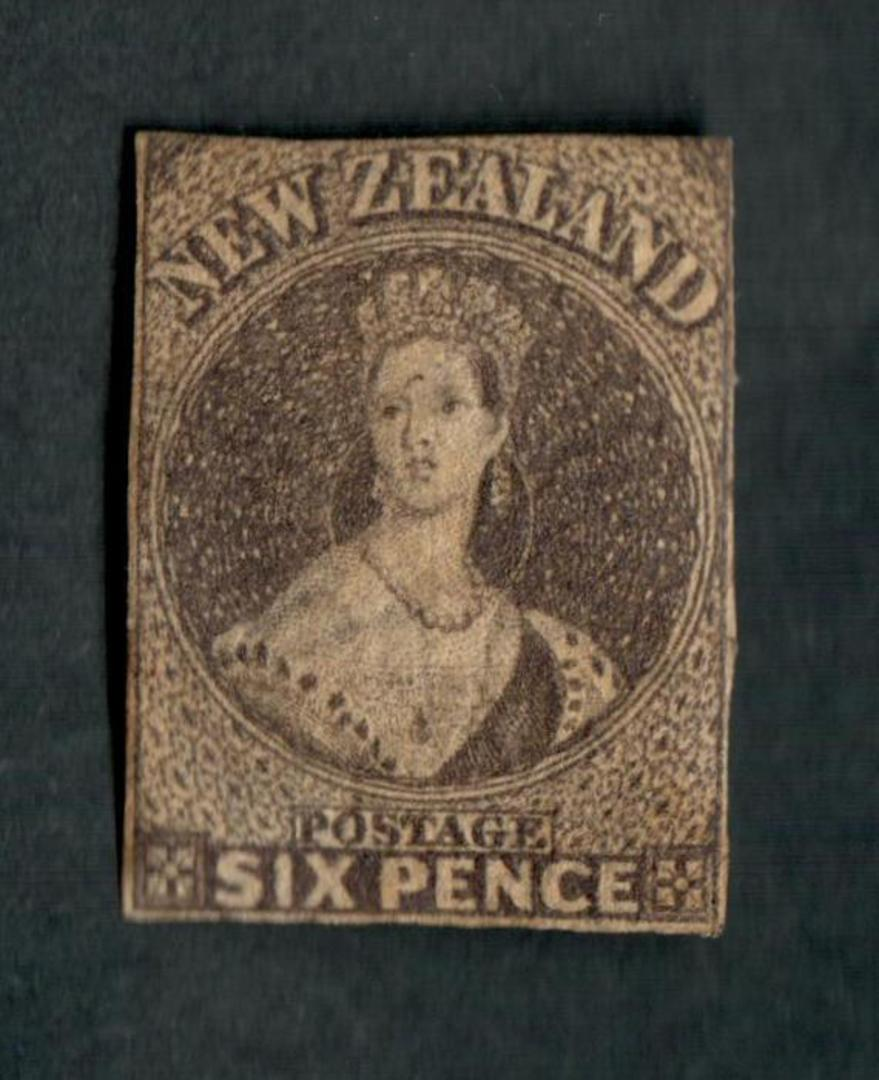 NEW ZEALAND 1855 Full Face Queen 6d Black-Brown. Davies Print (SG 41). Only the second unused example I have seen. Much original image 0
