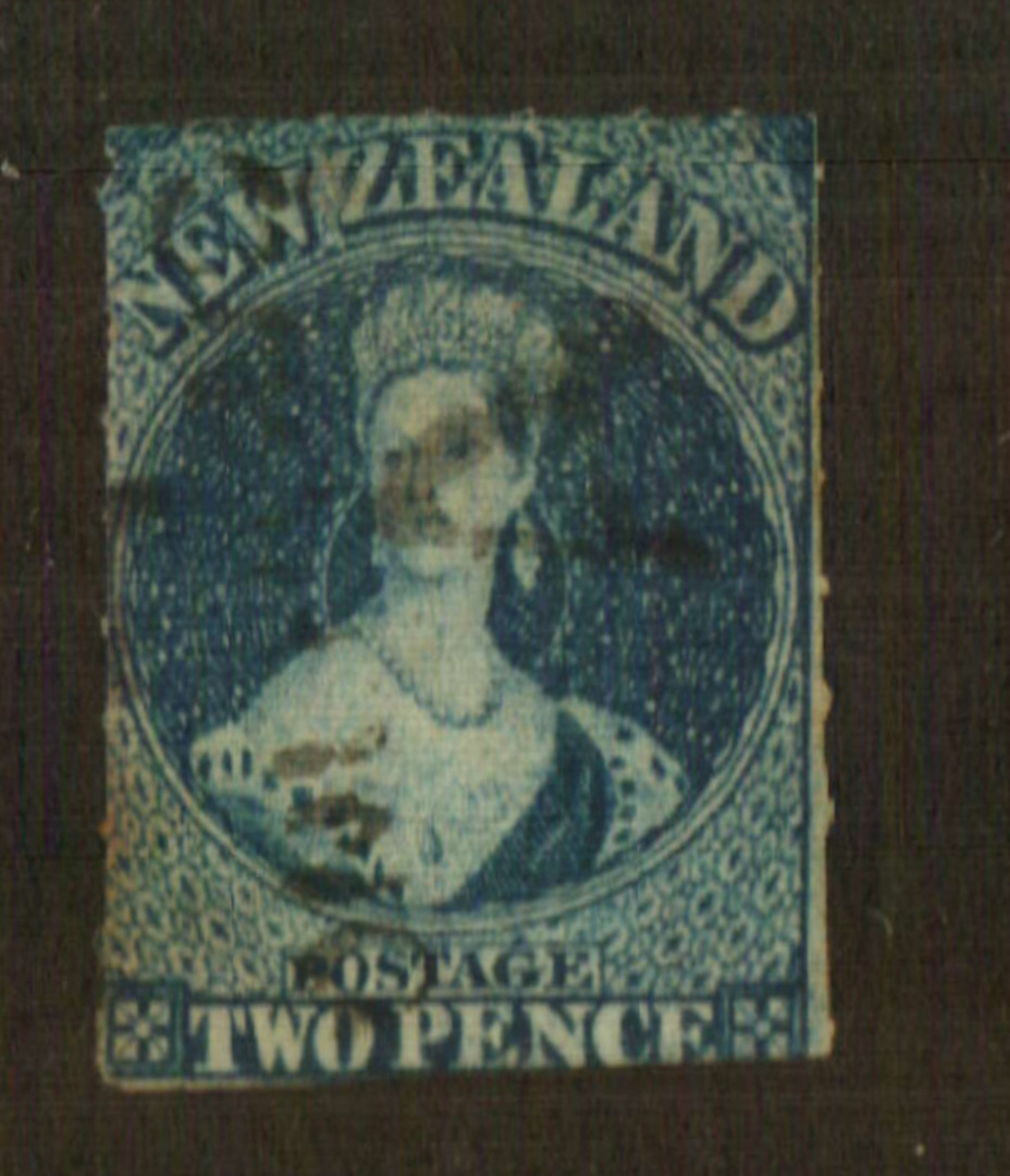 NEW ZEALAND 1855 Full Face Queen 2d Deep Blue. Roulette 7 at Auckland. A very nice copy with the roulettes on three 'sides'. - 7 image 0