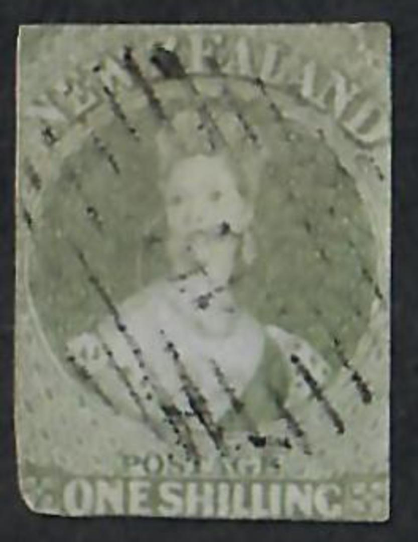 NEW ZEALAND 1855 Full Face Queen 1/- Green on blued paper.  Imperf. Cut square but touching all round. Attractive postmark. - 60 image 0