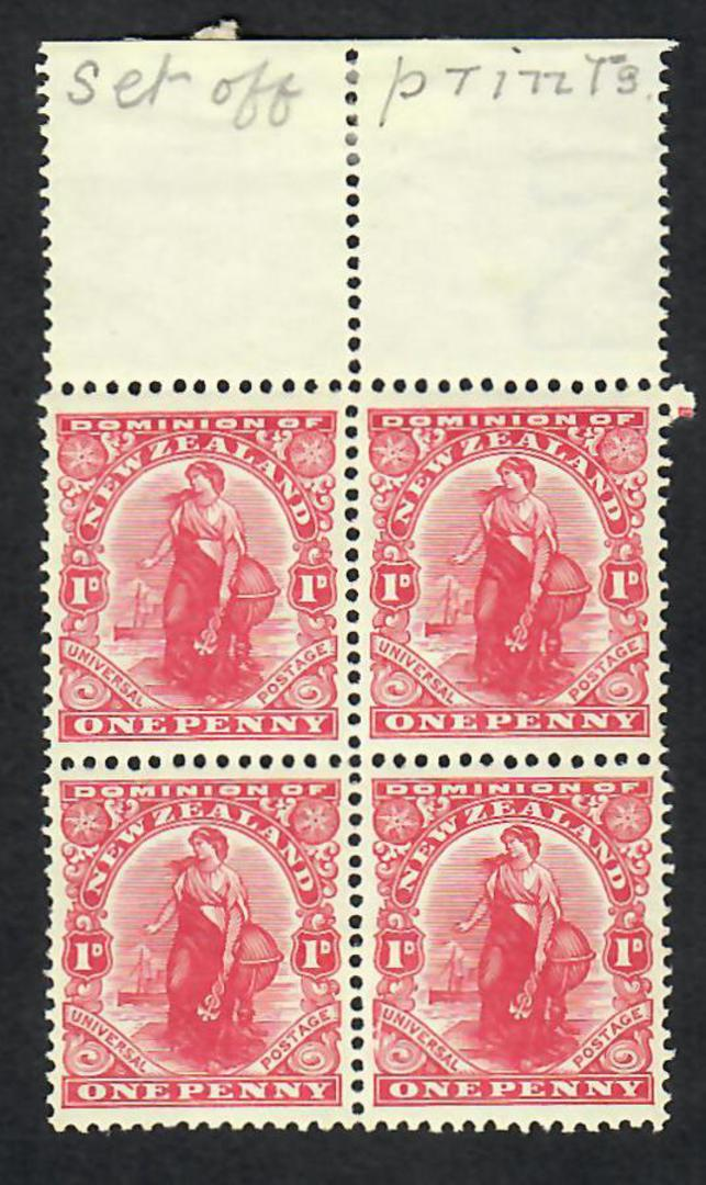 NEW ZEALAND 1926 1d Dominion. Block of 4 Offset on the back. Superb item. Clean as a whisker and perfect to boot.. - 26058 - UHM image 0