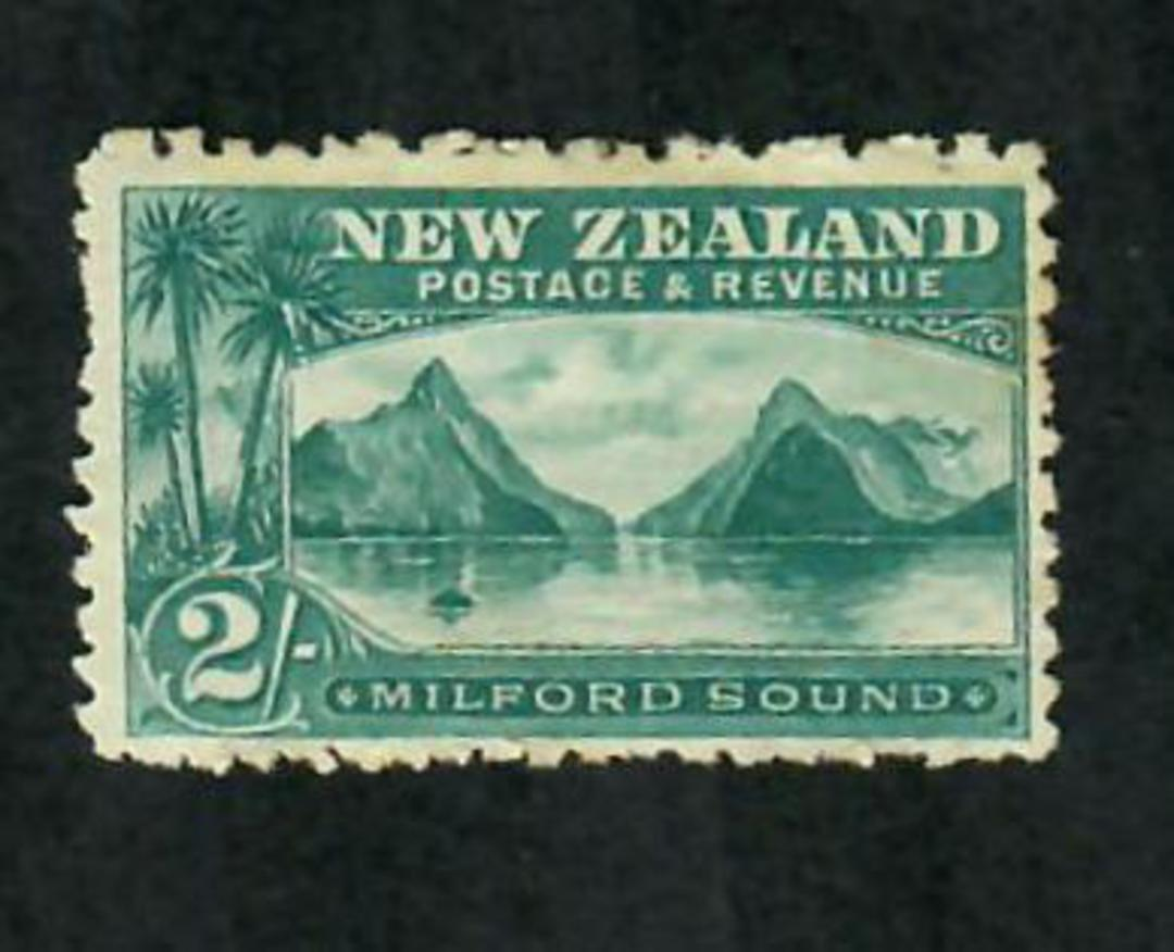 NEW ZEALAND 1898 Pictorial 2/- Blue-Green on Laid Paper. Hinge remains. - 75016 - Mint image 0