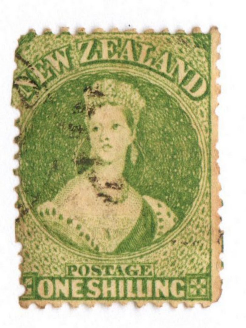 NEW ZEALAND 1862 Victoria 1st Full Face Queen 1/- Yellow-Green. Watermark Large Star. Perf 13. Fine cancel but one corner not ov image 0