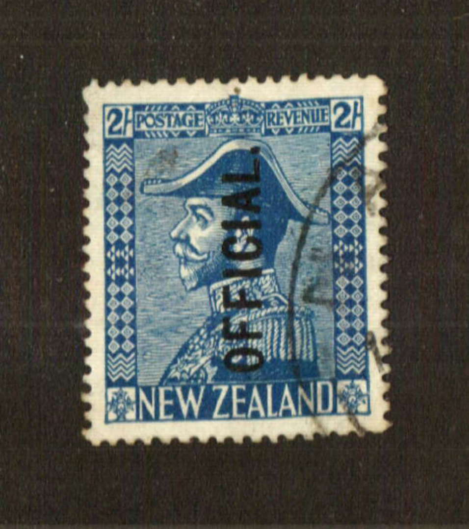 NEW ZEALAND 1926 Geo 5th Official 2/- Blue. - 74758 - FU image 0
