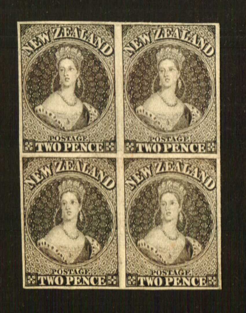 NEW ZEALAND 1855 Full Face Queen Proofs of the 2d in block of 4. - 70451 - Proof image 0