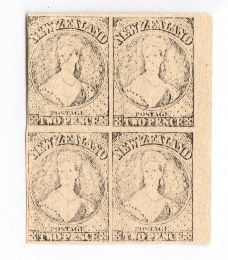 NEW ZEALAND 1855 Full Face Queen Hausberg Proofs in blocks of four. Eight blocks. - 37907 - image 6