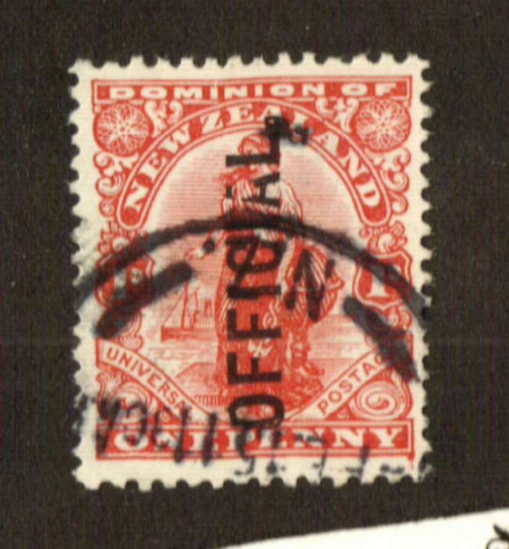 NEW ZEALAND 1909 1d Dominion with major flaw on the A in the overprint. - 74675 - FU image 0