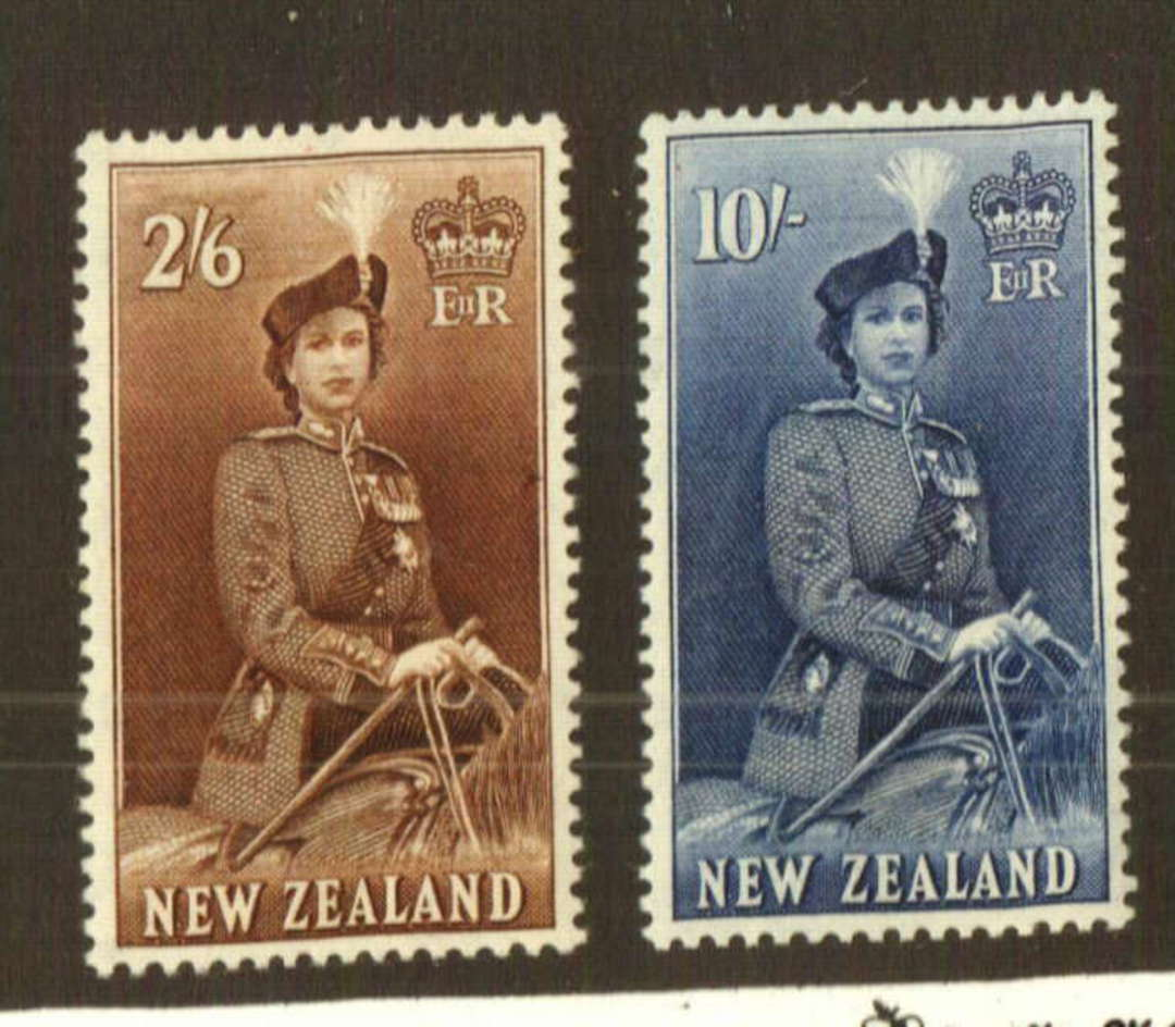 NEW ZEALAND 1953 Elizabeth 2nd Definitive 2/6 Brown and 10/- Blue both very lightly hinged. - 74745 - LHM image 0