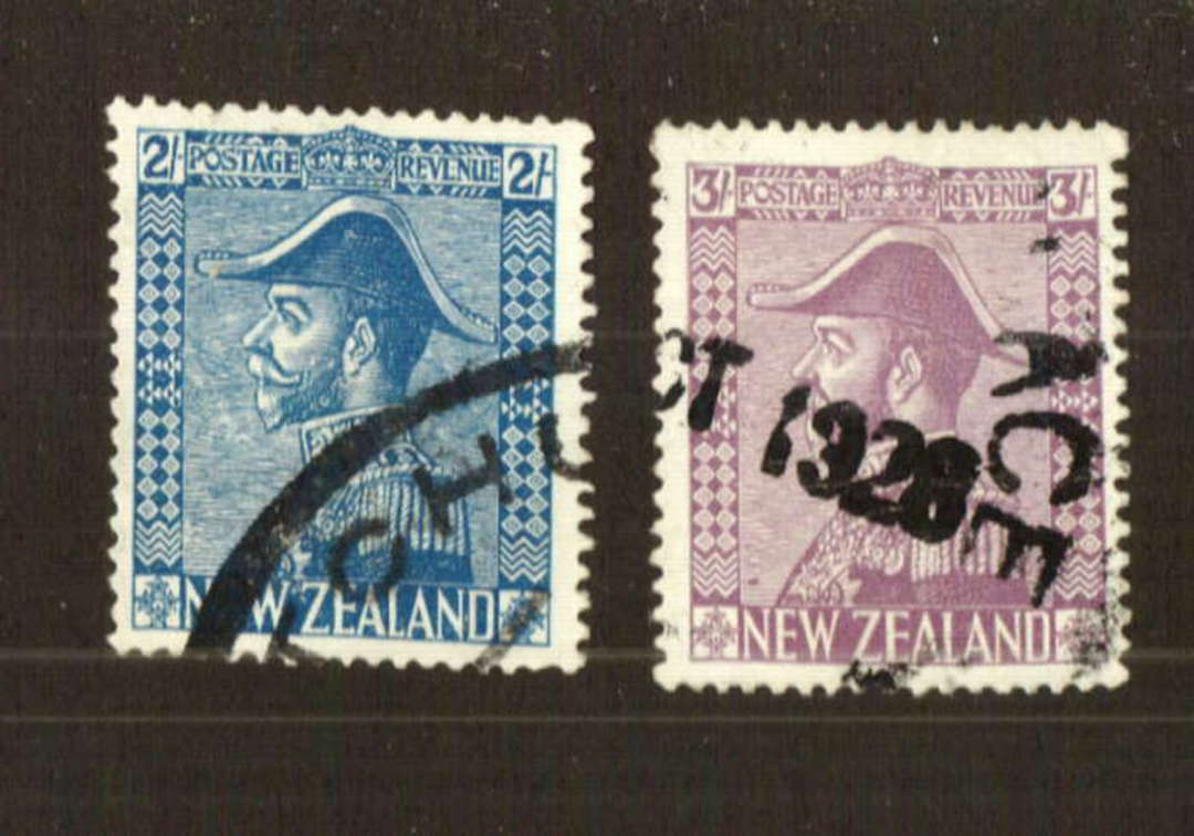 NEW ZEALAND 1926 Admirals 2/- and 3/- both with nice reasonable okay parcel cancels. Ask for a photocopy. - 74782 - Used image 0