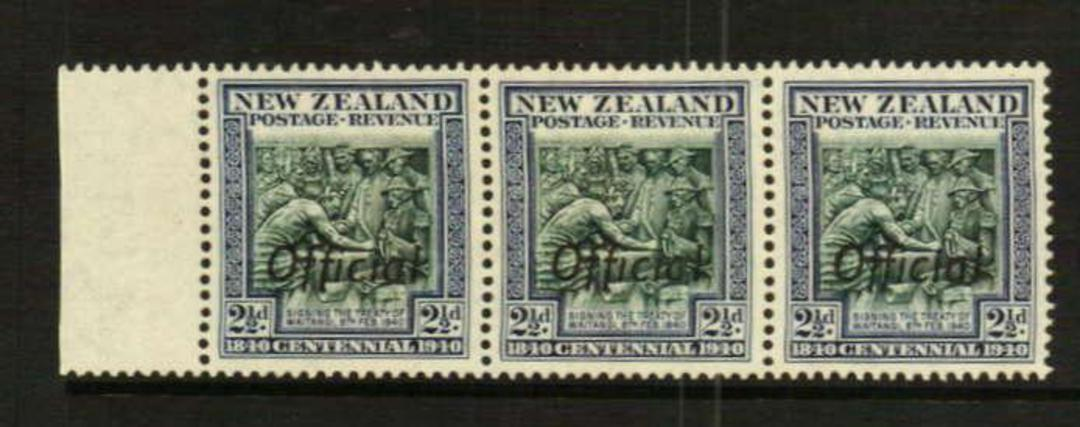 NEW ZEALAND 1940 Centennial Official ½d 1d 2d 3d 4d 6d 8d 2½d in pairs with Joined ffs. All never hinged except the 2½d. The 4d image 2