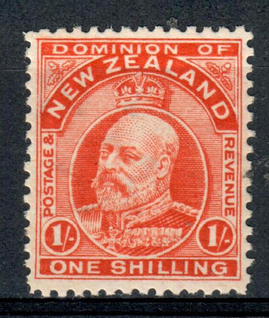 NEW ZEALAND 1909 Edward 7th 1/- Orange. - 4276 - LHM image 0