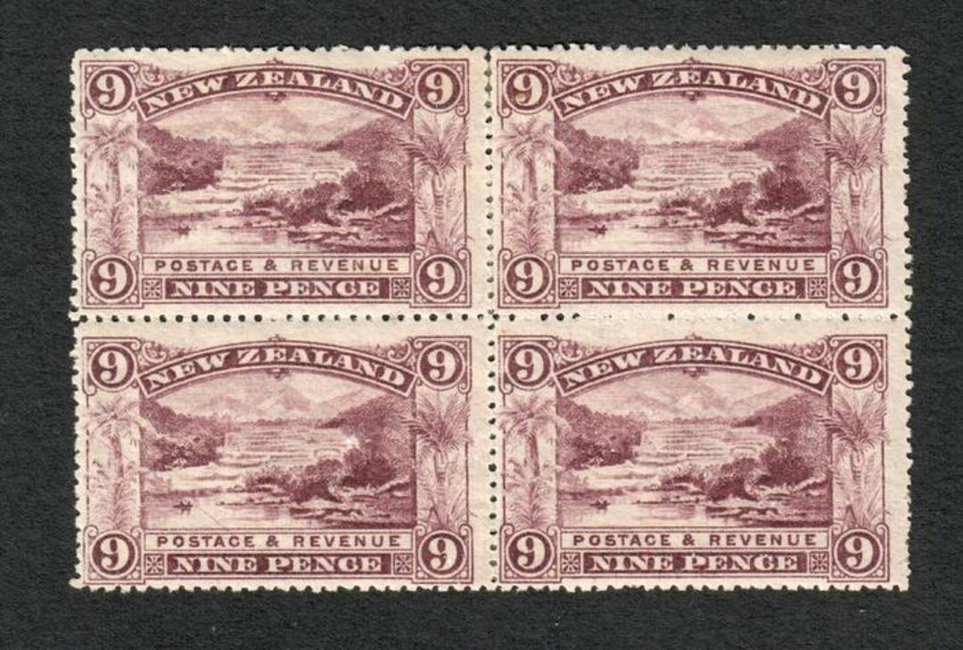 NEW ZEALAND 1898 Pictorial 9d Reddish Purple. Third Local Issue on Cowan Watermarked Paper. Perf 14. Block of 4. Light hinge rem image 0