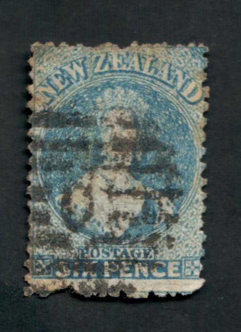 NEW ZEALAND 1862 Full Face Queen 6d Blue. Heavy Postmark. Spacefiller. - 39239 - Used image 0