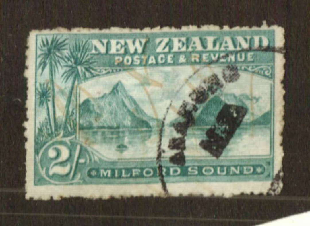 NEW ZEALAND 1898 Pictorial 2/- Milford Sound. Fiscal Cancel. - 71309 - Fiscal image 0
