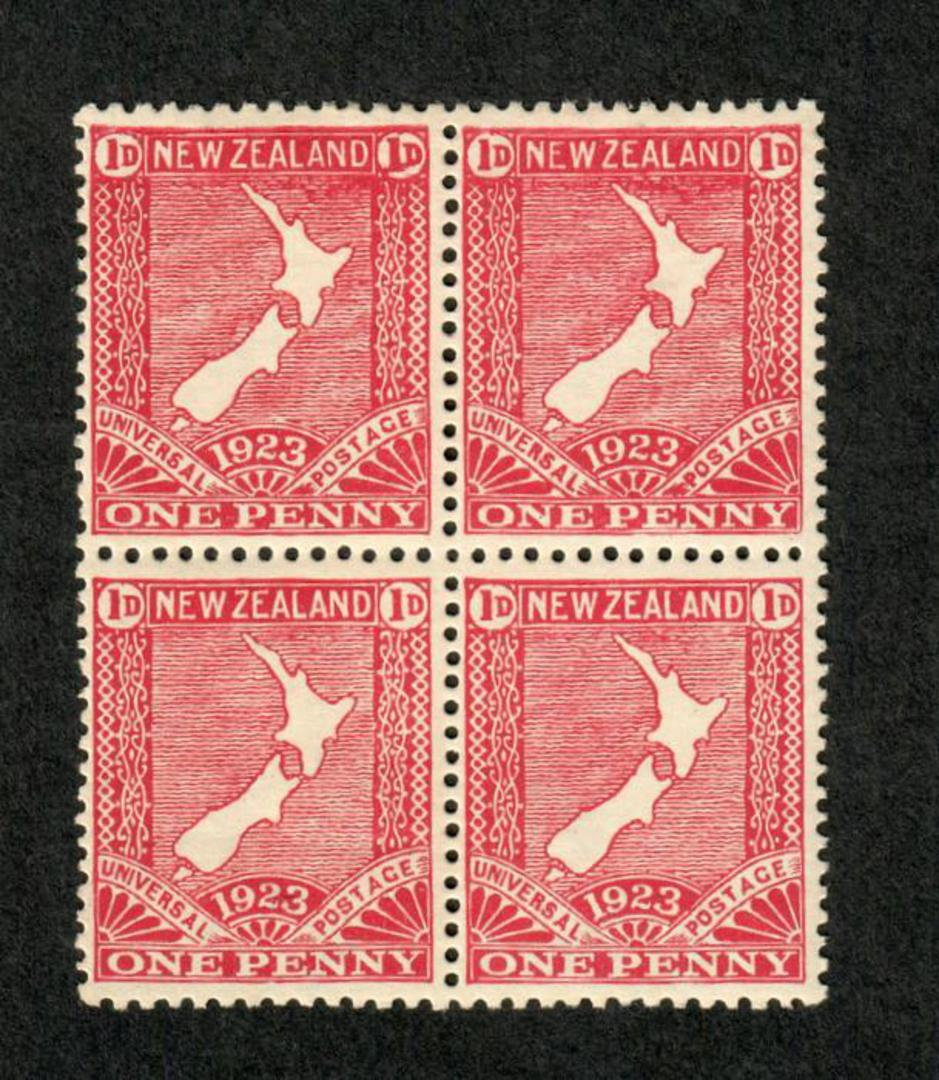 NEW ZEALAND 1923 1d Map. Block of 4 with flaw on the E in the lower right stamp. Top two stamps very lightly hinged. - 74830 - M image 0