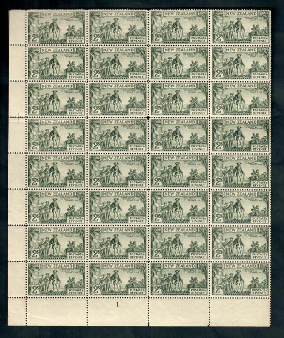 NEW ZEALAND 1935 Pictorial 2/- in block of 32. Plate 1. Multiple watermark. Perf 12½. One poor corner. - 50010 - MNG image 0