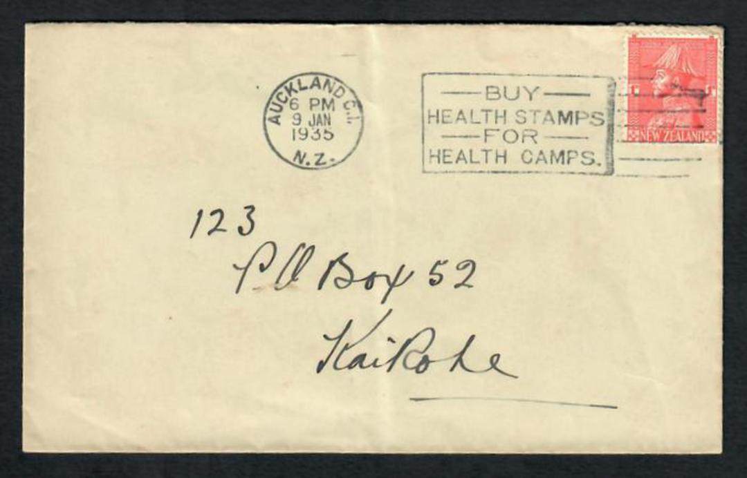 "NEW ZEALAND 1926 1d Admiral on cover 9/1/35 Roller Cancel ""Buy Health Stamps for Health Camps."" - 31450 - PostalHist image 0"