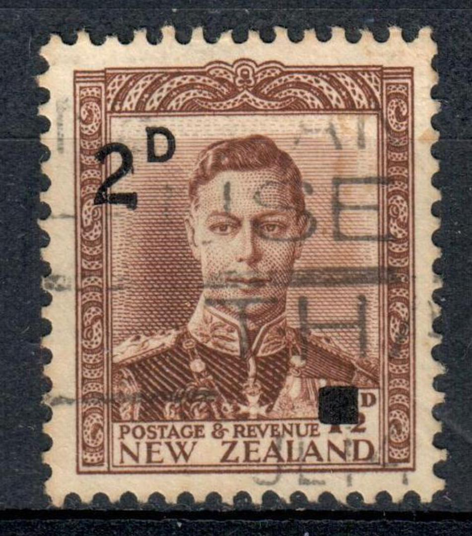 """NEW ZEALAND 1941 Geo 6th Provisonal Definitive 2d on 1½d Chocolate with re-inserted """"2"""". - 75299 - Used image 0"""