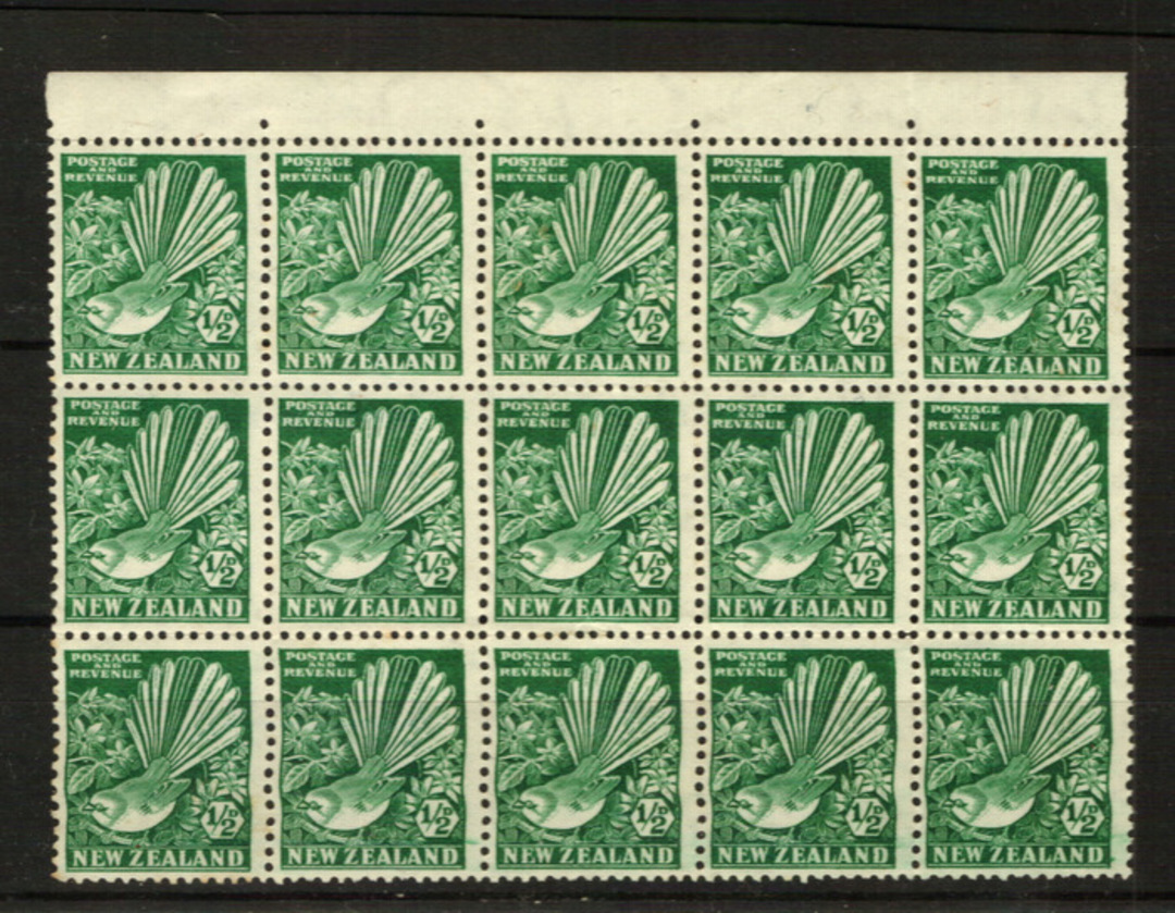 NEW ZEALAND 1935 Pictorial ½d Green. Block of 15. Rows 1 2 3. - 21818 - UHM image 0