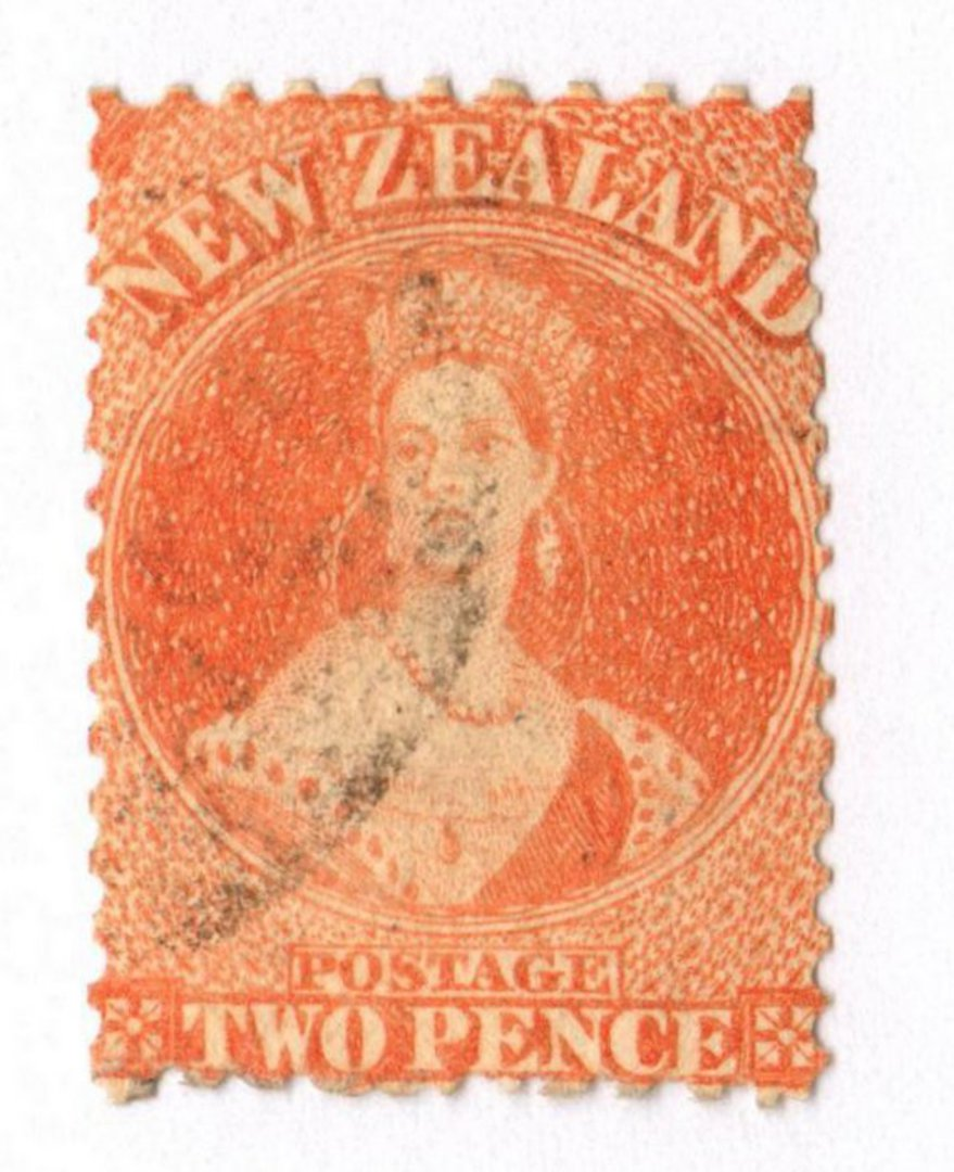 NEW ZEALAND 1862 Full Face Queen 2d Vermilion. Perf 12½. No Watermark. Postmark okay. - 3567 - Used image 0