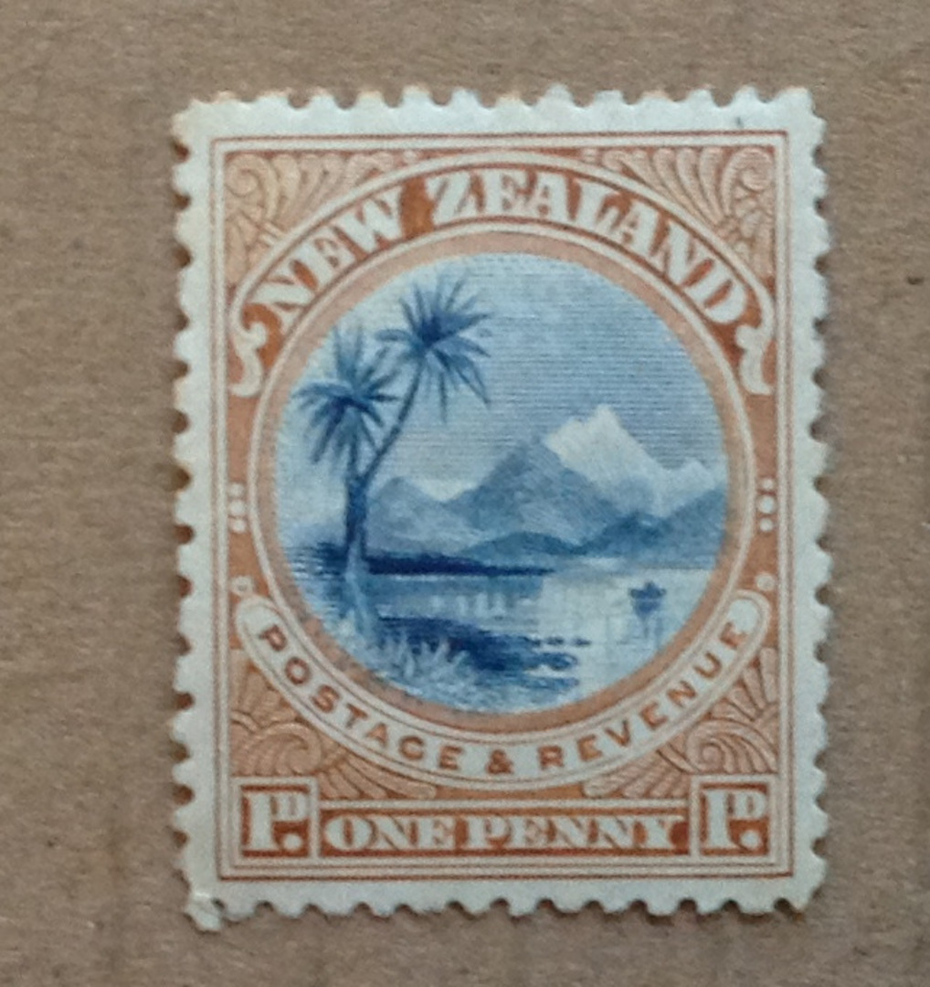 NEW ZEALAND 1898 Pictorial 1d Taupo. Perf 14x12. An interesting example in that the lowest three perfs of the vertical rows clea image 0