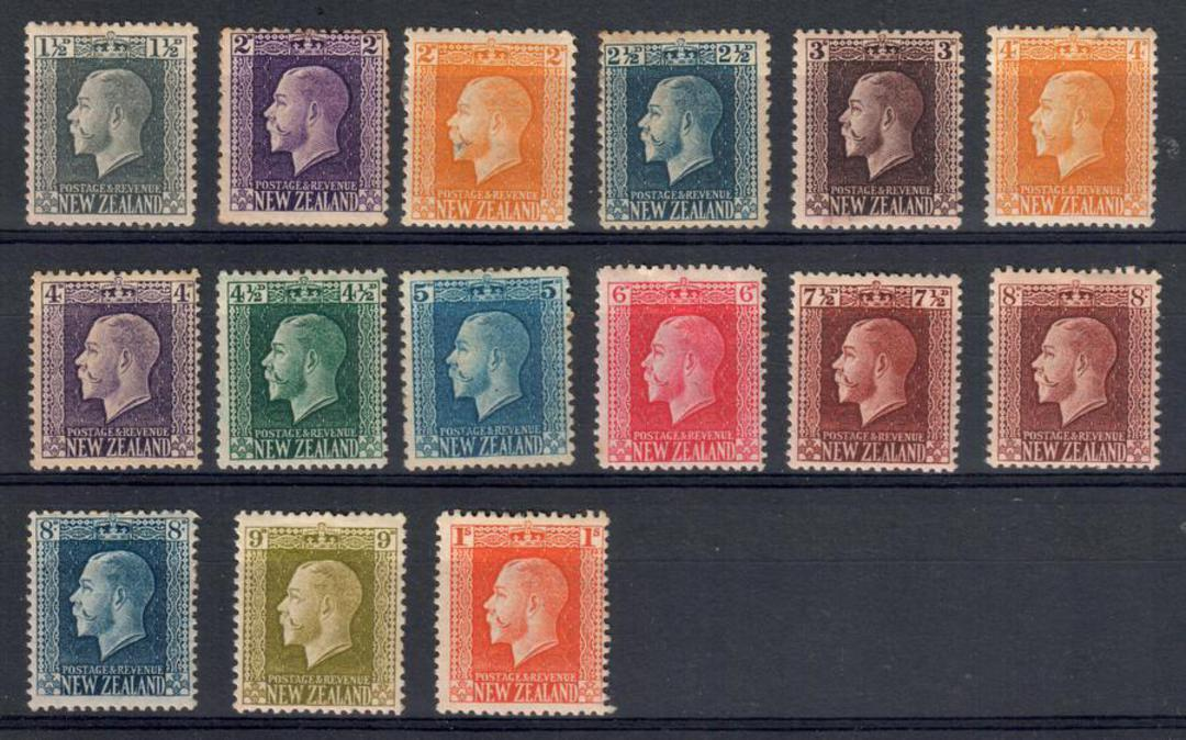 NEW ZEALAND 1915 Geo 5th Definitives Recess. Set of 15. - 20659 - Mint image 0
