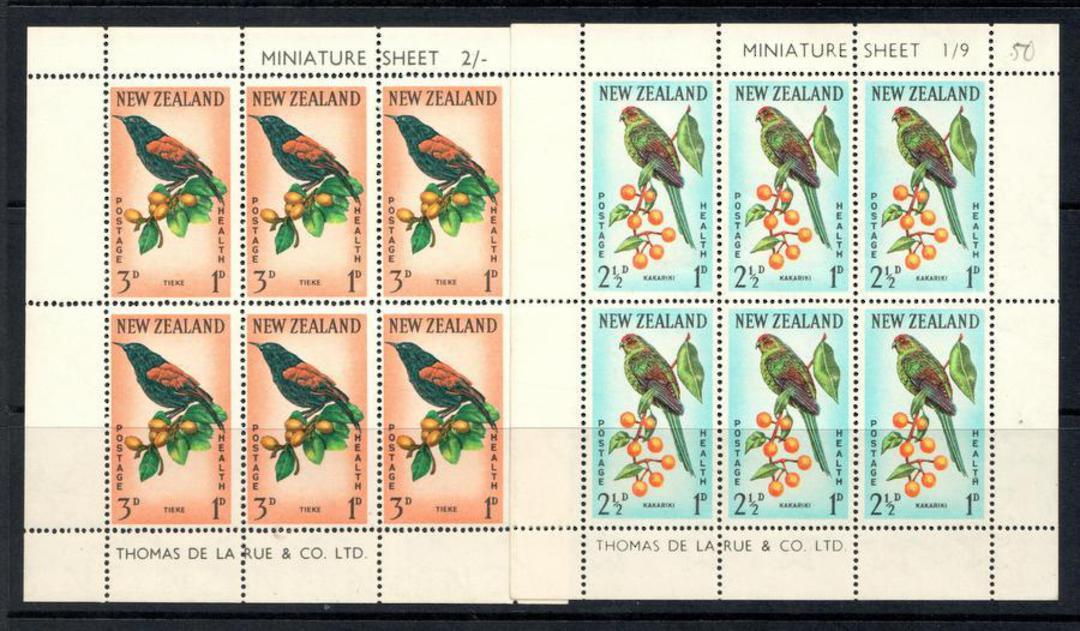 NEW ZEALAND 1962 Health miniature sheets featuring birds: Karakiri, Tieke. - 12662 - UHM image 0