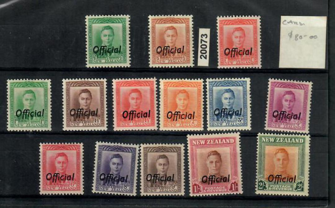 NEW ZEALAND 1938 Geo 6th Officials. Set of 14. Clean. - 20073 - LHM image 0