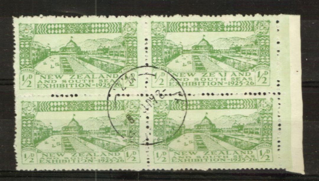 NEW ZEALAND 1925 Dunedin Exhibition ½d Green. Superb Block of 4. - 24014 - VFU image 0