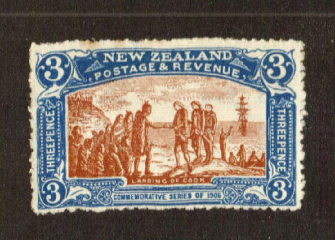 NEW ZEALAND 1906 Christchurch Exhibition 3d Brown and Blue. Nice bright colour. Two small rust spots. - 71306 - LHM image 0