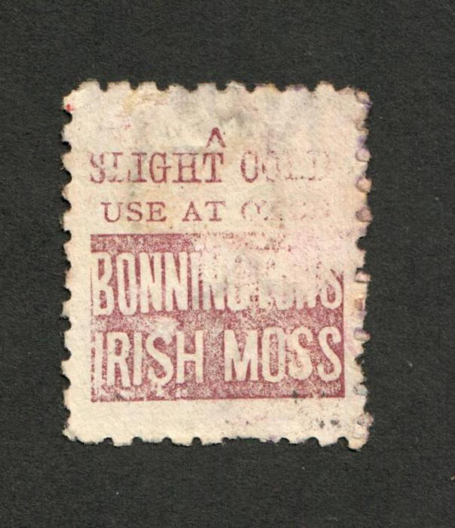 NEW ZEALAND 1882 Victoria 1st Second Sideface 1/- Red-Brown. Perf 10. 3rd setting in Red to Brown-Red. Bonningtons Irish Moss. F image 0