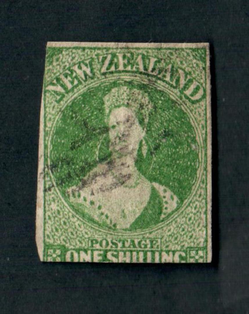 NEW ZEALAND 1855 Full Face Queen 1/- Green Imperf. Davies print. 2½ margins. Pinhole. Ligjt postmark. CP A6d(7) $1000/$200. - 39 image 0