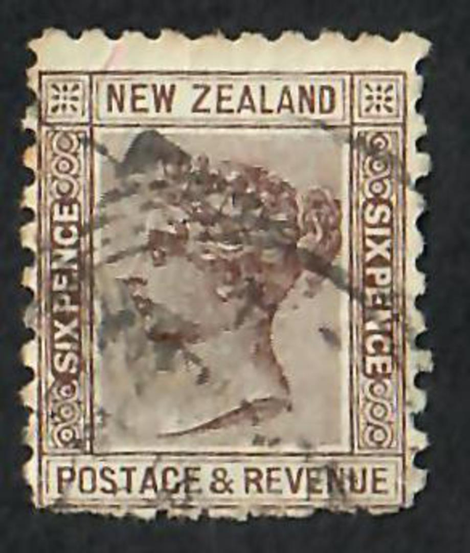 """NEW ZEALAND 1882 Victoria 1st Second Sideface 6d Brown with advert """"Bonningtons"""". - 75170 - Used image 0"""