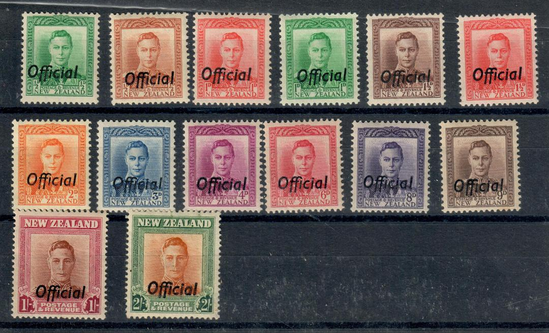NEW ZEALAND 1938 Geo 6th Officials. Set of 14. - 20998 - UHM image 0