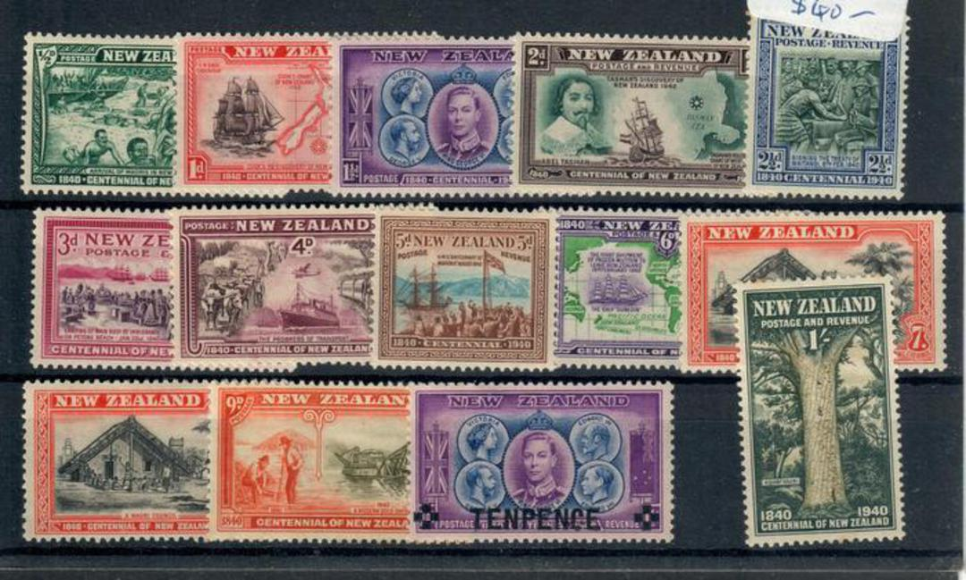 NEW ZEALAND 1940 Centenary of Proclamation of British Sovreignity. Set of 14. - 20426 - LHM image 0