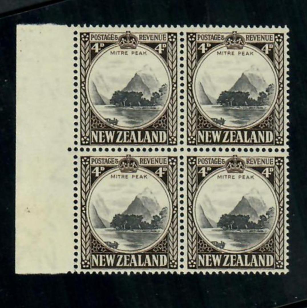 NEW ZEALAND 1935 Pictorial 4d Mitre Peak. Block of 4. - 20104 - UHM image 0