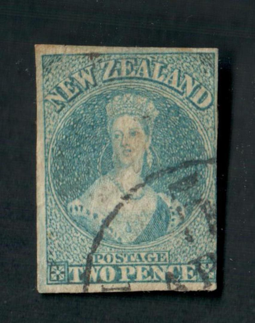 NEW ZEALAND 1855 Imperf Full Face Queen 2d Blue. Four good margins. Fine corner cancel. - 74810 - FU image 0