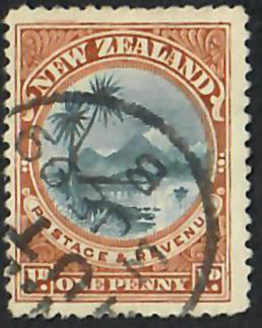NEW ZEALAND 1898 Pictorial 1d Lake Taupo. Plate 2 re-entry U/L iv. - 3596 - Used image 0