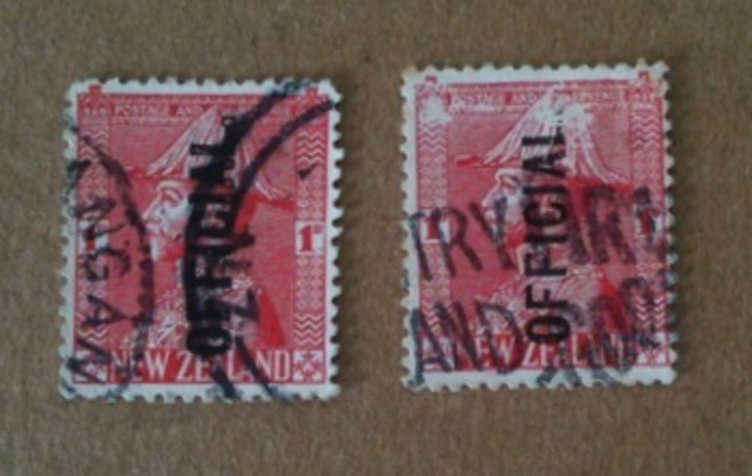 "NEW ZEALAND 1926 Geo 5th Official 1d Red. Two items seemingly ""No Stop after Official"". Dubious but in view of the high catalogu image 0"