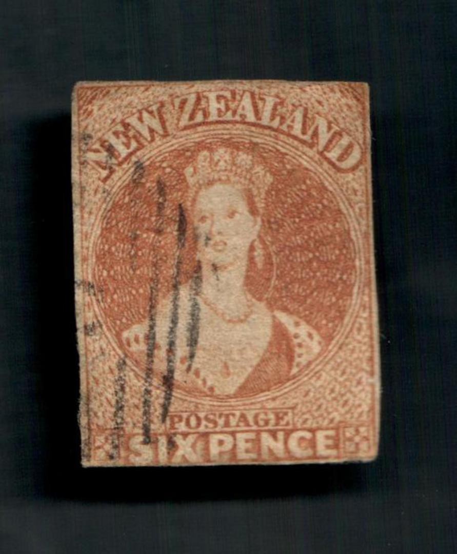 NEW ZEALAND 1855 Full Face Queen 6d Brown. White paper. No watermark. Cut along the frame, one good margin. Nice cancel, off fac image 0