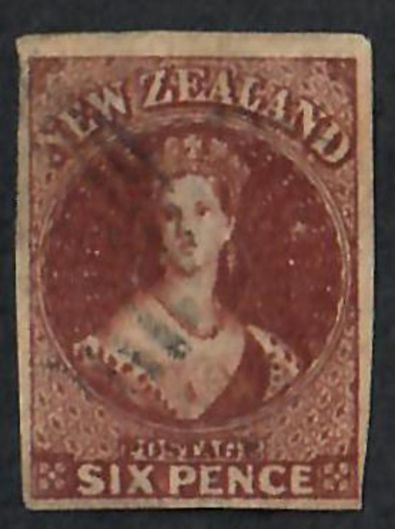 NEW ZEALAND 1855 Full Face Queen 6d Brown.  Imperf. Four complete margins. Very light postmark. - 60062 - FU image 0