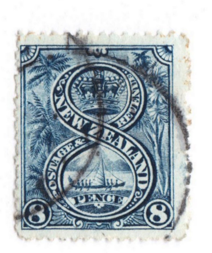 NEW ZEALAND 1898 Pictorial 8d Blue. London Print. The reverse is interesting. The sheet appears to have picked up some ink from image 0