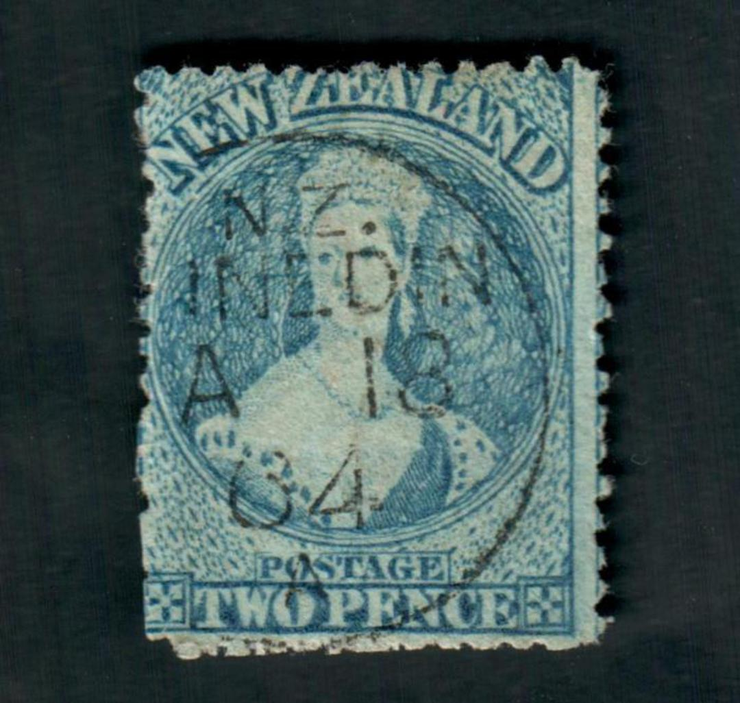 NEW ZEALAND 1862 Full Face Queen 2d Blue. Perf 13 at Dunedin . A Class cancel Dunedin. Dull corner. - 39031 - Used image 0